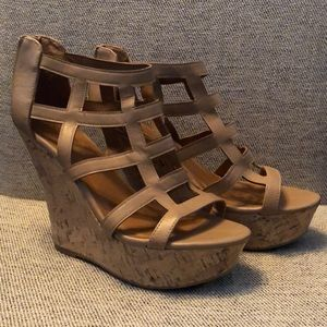 Charlotte Russe Tan Cage Wedges